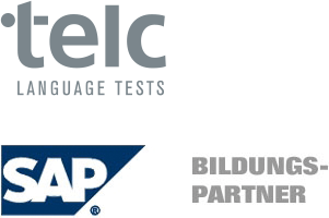 Logos: telc-Language Tests & SAP-Bildungspartner